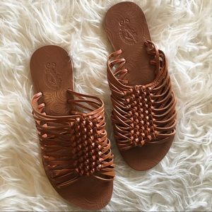 Anthropologie Seychelles Braided Leather Slides